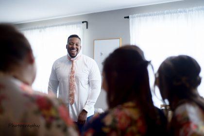 groom in groom's suite at The Bradford