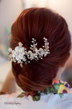 Bride updo with antique hair comb