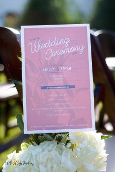 wedding ceremony program in pink