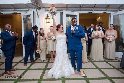 Reception Entrance blue sage peach pink wedding colors