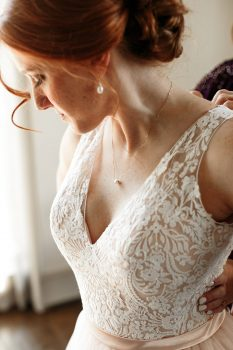 Red Head Bride in Blush Wedding Dress