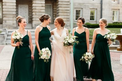 Emerald Green Bridesmaid Dresses Blush Bridal Gown