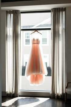 Blush Wedding Dress on Hanger