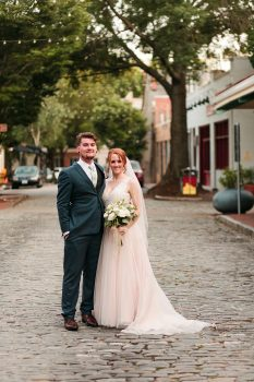 Blush Wedding Gown Navy Suit