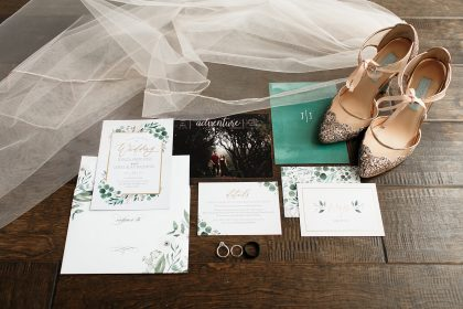 Wedding Invitation Suite and Veil