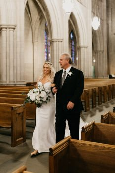 Father walking bride down the aisle Duke University Chapel