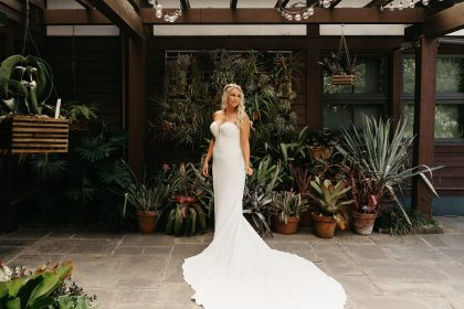 Gorgeous Strapless wedding gown with train