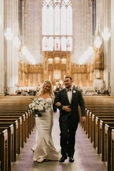 Mr. & Mrs. Walking Down Aisle Duke Chapel