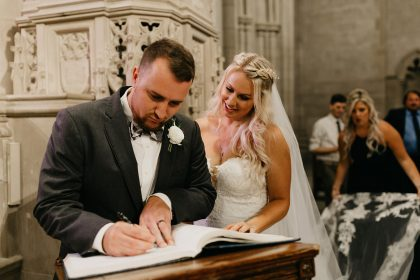 Signing Wedding Registry at Duke Chapel