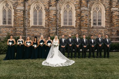 Wedding party in Navy dresses and suits
