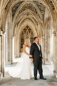 Bride & Groom at June Wedding Duke Chapel
