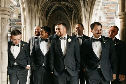 Groom and Groomsmen at Duke Chapel