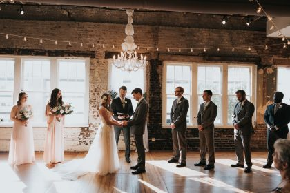 Sunlight shining through windows during wedding ceremony