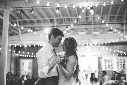 Black and White First Dance Photo Chestnut & VIne Wedding Coordination