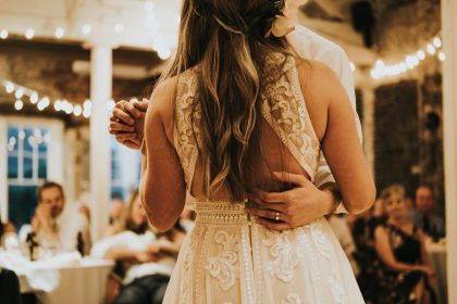 Gorgeous lace back wedding dress