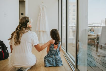 Cute bride flower girl photo