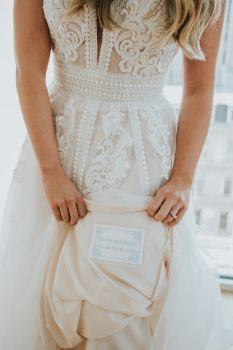 message sewn into wedding dress